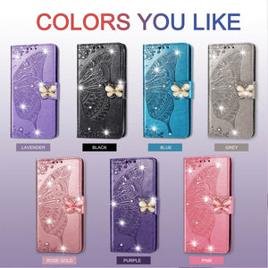 2020 Luxury Embossed Butterfly Leather Wallet Flip Case For Huawei P30 Lite