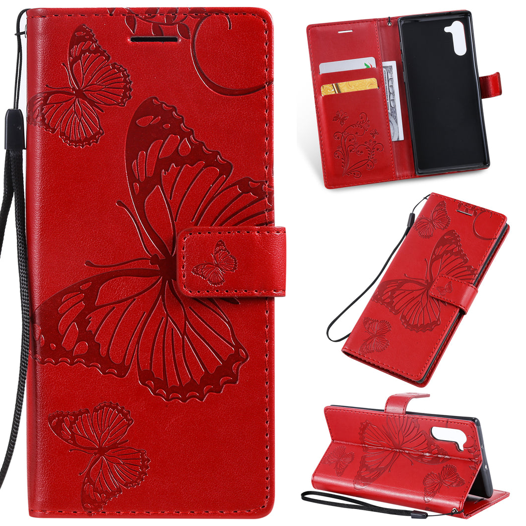 3D Embossed Butterfly Wallet Phone Case For Samsung Note 10