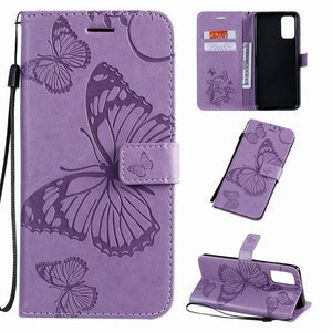 3D Embossed Butterfly Wallet Phone Case For Samsung A71