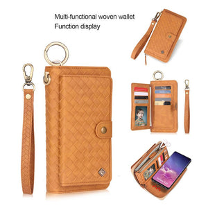 Woven Pattern Wallet Removeble Phone Case For Samsung
