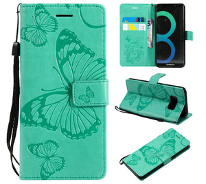 2021 Upgraded 3D Embossed Butterfly Wallet Phone Case For Samsung S8