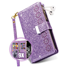 Load image into Gallery viewer, Glitter Sparkly Girly Bling Leather Flip Cover For Samsung Galaxy A10E