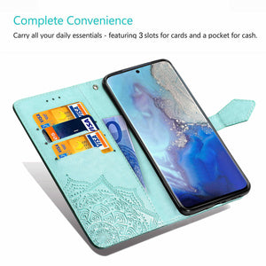2021 Luxury Embossed Mandala Leather Wallet Flip Case for Samsung S9