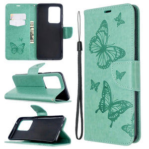 Embossed Butterfly Pattern Flip Phone Case For Samsung Galaxy S20ultra