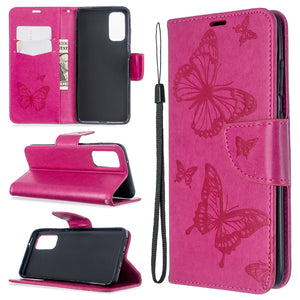 Embossed Butterfly Pattern Flip Phone Case For Samsung Galaxy S20