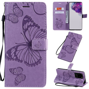 2021 Upgraded 3D Embossed Butterfly Wallet Phone Case For Samsung S20 Ultra
