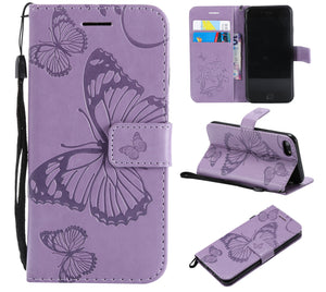 2021 Upgraded 3D Embossed Butterfly Wallet Phone Case For iPhone SE(2020)