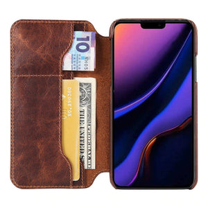 Luxury Genuine Leather Flip Case For Iphone