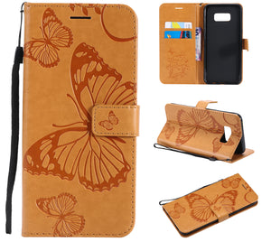 2021 Upgraded 3D Embossed Butterfly Wallet Phone Case For Samsung S8 Plus