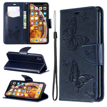 Load image into Gallery viewer, Embossed Butterfly Pattern Flip Phone Case For iPhone