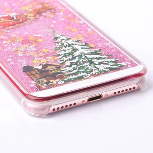 Funny Christmas Tree Quicksand Phone Case For iPhone