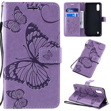 Load image into Gallery viewer, 3D Embossed Butterfly Wallet Phone Case For Samsung A01(EU)