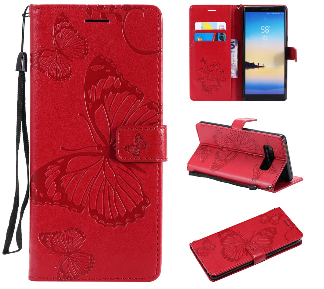 2021 Upgraded 3D Embossed Butterfly Wallet Phone Case For Samsung Note 8