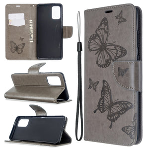 Embossed Butterfly Pattern Flip Phone Case For Samsung Galaxy S20+