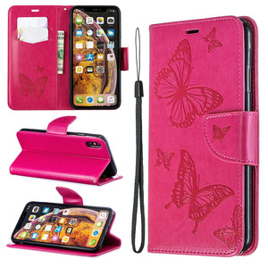 Embossed Butterfly Pattern Flip Phone Case For iPhone