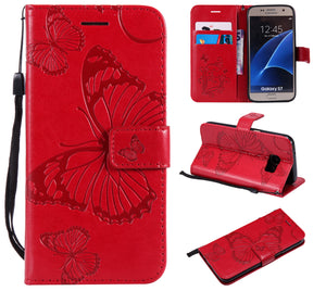 2021 Upgraded 3D Embossed Butterfly Wallet Phone Case For Samsung S7