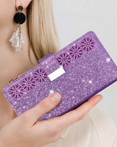 Glitter Sparkly Girly Bling Leather Flip Cover For Samsung Galaxy A21S