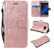 Load image into Gallery viewer, 2021 Upgraded 3D Embossed Butterfly Wallet Phone Case For Samsung S7