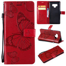 Load image into Gallery viewer, 3D Embossed Butterfly Wallet Phone Case For Samsung Note 9
