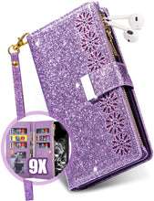 Load image into Gallery viewer, Glitter Sparkly Girly Bling Leather Flip Cover For Samsung Galaxy A11