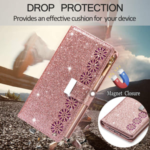 Glitter Sparkly Girly Bling Leather Flip Cover For Samsung Galaxy A50