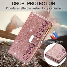 Load image into Gallery viewer, Glitter Sparkly Girly Bling Leather Flip Cover For Samsung Galaxy A21S