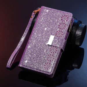 Glitter Sparkly Girly Bling Leather Flip Cover For Samsung Galaxy A10E