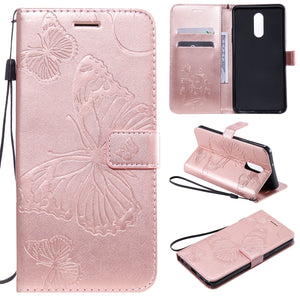 3D Embossed Butterfly Wallet Phone Case For LG Stylo 5