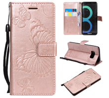 Load image into Gallery viewer, 2021 Upgraded 3D Embossed Butterfly Wallet Phone Case For Samsung S8