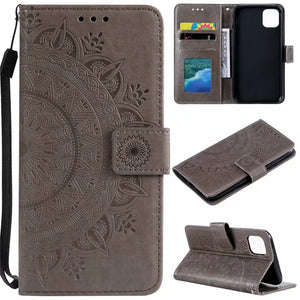 2020 Sunflower Embossed Wallet Phone Case For iPhone