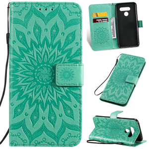 Embossed Sunflower Wallet Phone Case For LG
