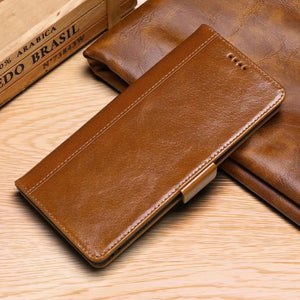 Luxury Oil Wax Pattern Leather Wallet Phone Case for Samsung S/Note Series
