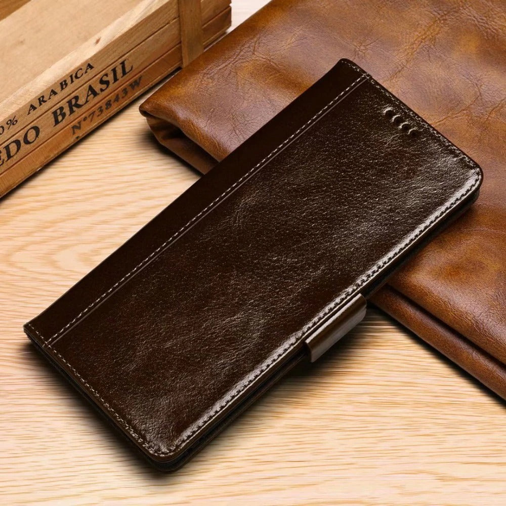 Luxury Oil Wax Pattern Leather Wallet Phone Case for iPhone