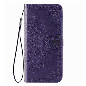 2021 Luxury Embossed Mandala Leather Wallet Flip Case for iPhone