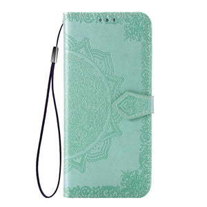 2021 Luxury Embossed Mandala Leather Wallet Flip Case for iPhone XR