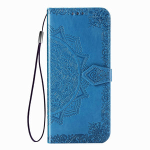 2020 Luxury Embossed Mandala Leather Wallet Flip Case for Samsung A11