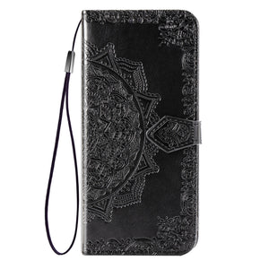 2020 Luxury Embossed Mandala Leather Wallet Flip Case for iPhone 8
