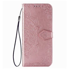 2021 Luxury Embossed Mandala Leather Wallet Flip Case for Samsung S20