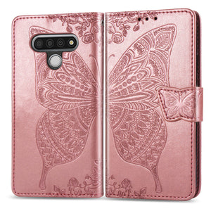 【BIG SALE】2020 Luxury Embossed Butterfly Leather Wallet Cover for LG Stylo 6