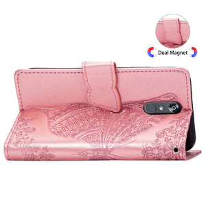 2021 Luxury Embossed Butterfly Leather Wallet Flip Case for LG Stylo 5