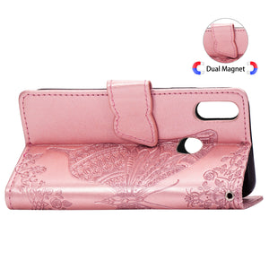 2021 Luxury Embossed Butterfly Leather Wallet Flip Case For Huawei Y6(2019)