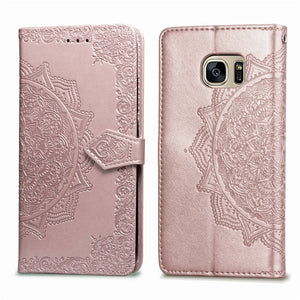 2020 Luxury Embossed Mandala Leather Wallet Flip Case for Samsung S7
