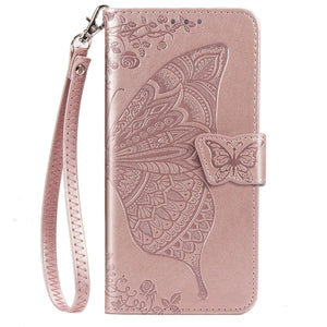 2021 Luxury Embossed Butterfly Leather Wallet Flip Case For Samsung A40