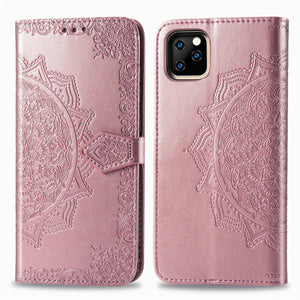 2020 Luxury Embossed Mandala Leather Wallet Flip Case for iPhone 11 Pro Max