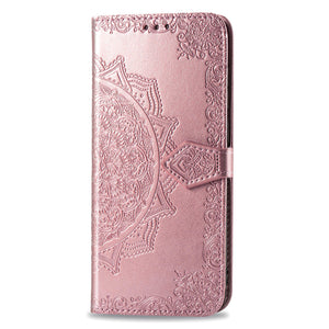2021 Luxury Embossed Mandala Leather Wallet Flip Case for iPhone 11