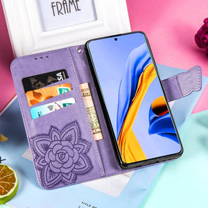 2021 Luxury Embossed Butterfly Leather Wallet Flip Case For Samsung A71