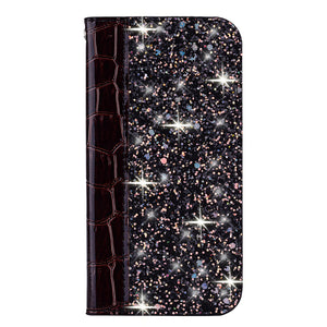 2020 Luxury Crocodile Pattern Glitter Leather Wallet Flip Case for iPhone