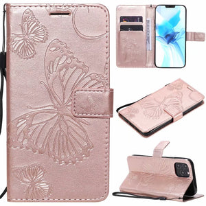 2021 Upgraded 3D Embossed Butterfly Wallet Phone Case For iPhone 11 Pro