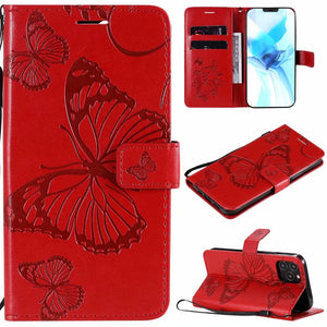 2021 Upgraded 3D Embossed Butterfly Wallet Phone Case For iPhone