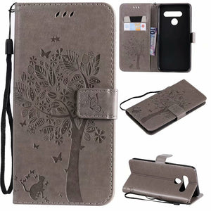 Cat Tree Premium Leather Flip Wallet Phone Case For LG